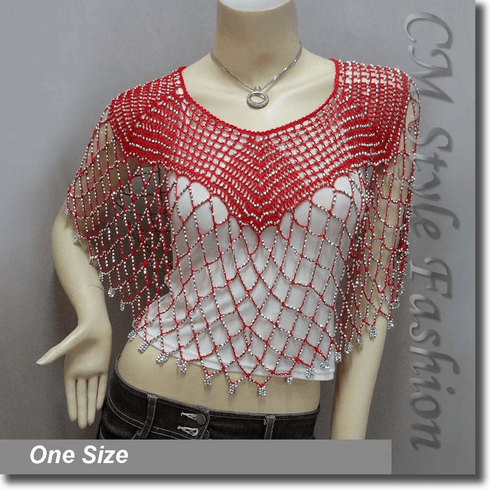Beaded Party Wear Crochet Knit Net Poncho Wrap Cape Top Red
