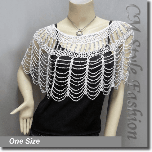 Beaded Party Wear Crochet Knit Net Poncho Wrap Cape Top White