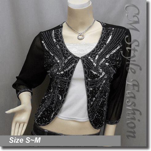 Beaded Sequin Embroidered Evening Bolero Shrug Top Black