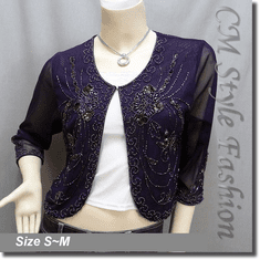 Beaded Sequin Embroidered Evening Bolero Shrug Top Purple