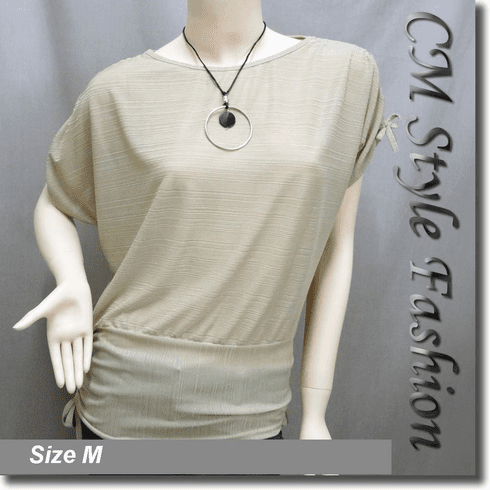 Boat Neckline Drawstrings Blouse Top w/ Necklace Beige