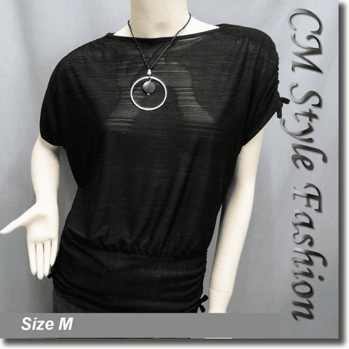Boat Neckline Drawstrings Blouse Top w/ Necklace Black