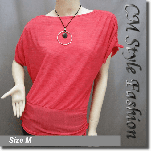 Boat Neckline Drawstrings Blouse Top w/ Necklace Pink