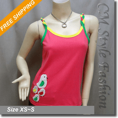 Bright Color Chicken Patchwork Cami Vest Top Hot Pink