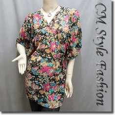Bubble Puff Sleeves Floral Chiffon Frock Tunic Top with Beaded Belt
