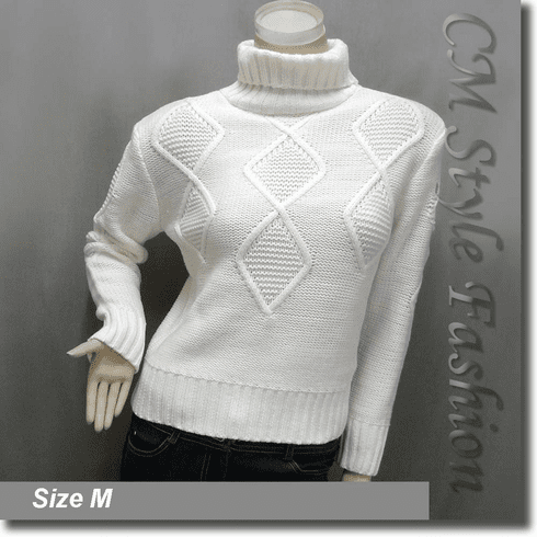Cable Knit Fold Over Turtleneck Sweater Jumper Top Off White