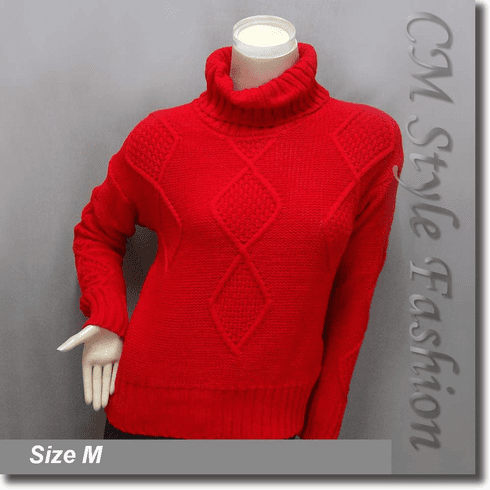 Cable Knit Fold Over Turtleneck Sweater Jumper Top Red