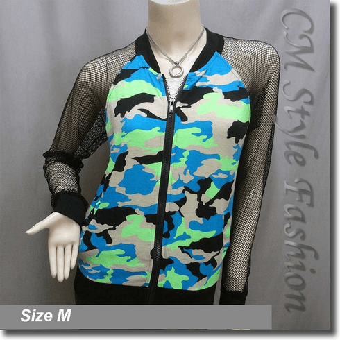 Camouflage Prints Net Sleeves Front Zip Jacket Blouse Top Multi Colors