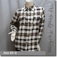 Checked Plaid Gingham Lumber Shirt Top Brown Tone