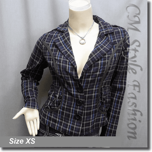 Checked Plaid Tartan Fashion Jacket Top Purple
