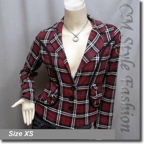 Checked Plaid Tartan Fashion Jacket Top Red