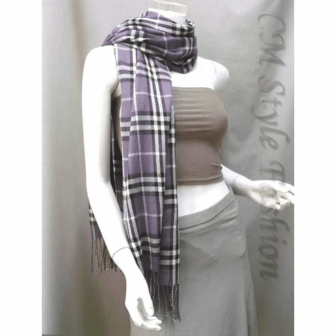 Checked Plaid Tartan Wrap Scarf Shawl Purple