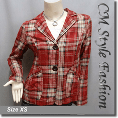 Checkers Plaids Pockets Shirt Jacket Top Red