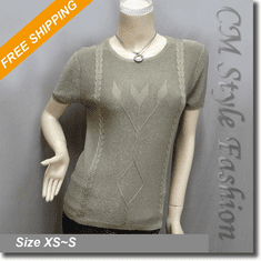 Chic Artistic Twist Pattern Blouse Boho Top Khaki Brown