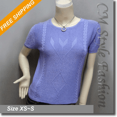 Chic Artistic Twist Pattern Blouse Boho Top Purple