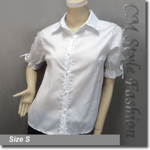 Chic Beaded Lace Bows Cut Outs Blouse Shirt Top White