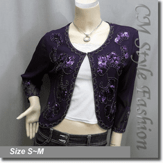 Chic Beaded Sequin Embroidered Evening Bolero Shrug Top Purple