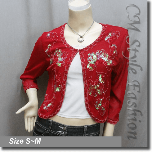 Chic Beaded Sequin Embroidered Evening Bolero Shrug Top Red