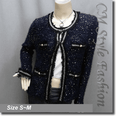 Chic Classy Sequined Golden Trimmed Cardigan Shrug Top Blue
