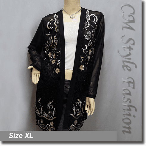 Chic Classy Sheer Sequined Embroidered Beaded Long Cardigan Top Black