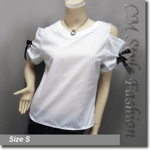 Chic Cold Shoulder O Ring Blouse Shirt Top White