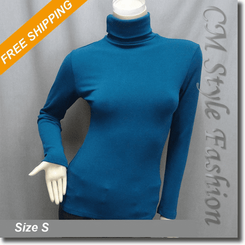 Chic Comfy Turtleneck Sweater Blouse Top Blue