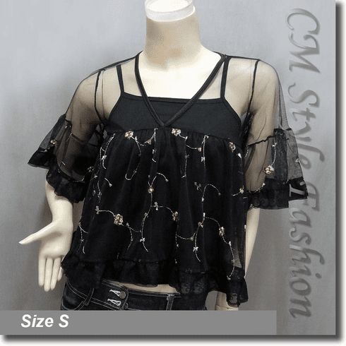Chic Cute Floral Embroidery Lace Sheer Top + Camisole Top Set Black