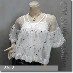 Chic Cute Floral Embroidery Lace Sheer Top + Camisole Top Set White