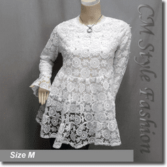 Chic Cute Floral Lace Mesh Beaded Babydoll Tunic Top White