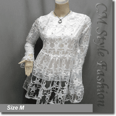 Chic Cute Star Lace Mesh Beaded Babydoll Tunic Top White