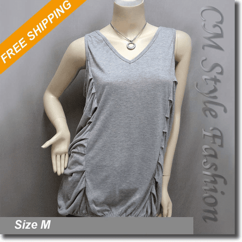 Chic Drapey Ruched Tank Tunic Top Gray