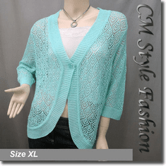 Chic Eyelet Crochet Cardigan Sweater Top Aqua