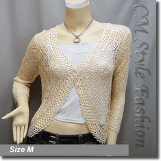 Chic Eyelet Crochet Cardigan Sweater Top Beige