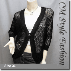 Chic Eyelet Crochet Cardigan Sweater Top Black