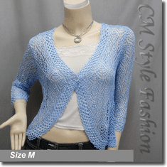 Chic Eyelet Crochet Cardigan Sweater Top Blue