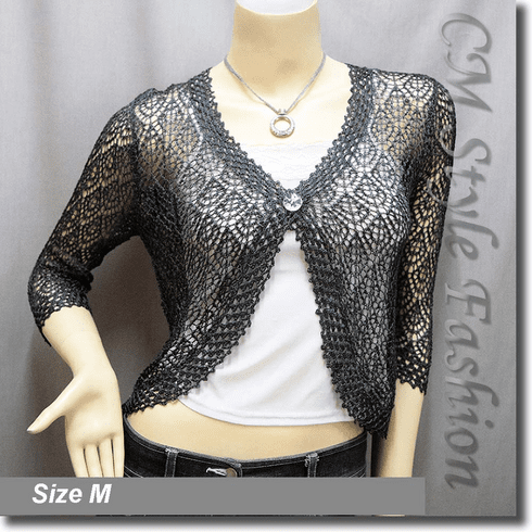 Chic Eyelet Crochet Cardigan Sweater Top Dark Gray
