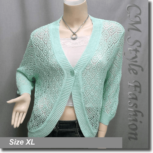 Chic Eyelet Crochet Cardigan Sweater Top Green