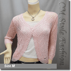 Chic Eyelet Crochet Cardigan Sweater Top Light Pink