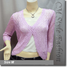 Chic Eyelet Crochet Cardigan Sweater Top Light Purple