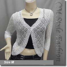 Chic Eyelet Crochet Cardigan Sweater Top Off White