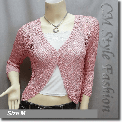 Chic Eyelet Crochet Cardigan Sweater Top Pink