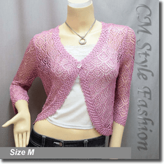 Chic Eyelet Crochet Cardigan Sweater Top Pinkish Purple