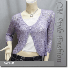 Chic Eyelet Crochet Cardigan Sweater Top Purple