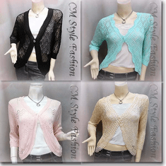 Chic Eyelet Crochet Cardigan Sweater Top Series