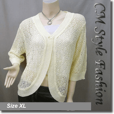 Chic Eyelet Crochet Cardigan Sweater Top Yellow