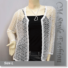 Chic Eyelet Crochet Knit Scallop Cardigan Top Cream
