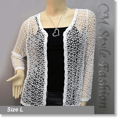 Chic Eyelet Crochet Knit Scallop Cardigan Top Off White