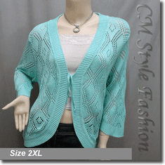 Chic Eyelet Front Tie Cardigan Sweater Top Aqua