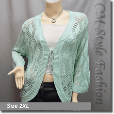 Chic Eyelet Front Tie Cardigan Sweater Top Green
