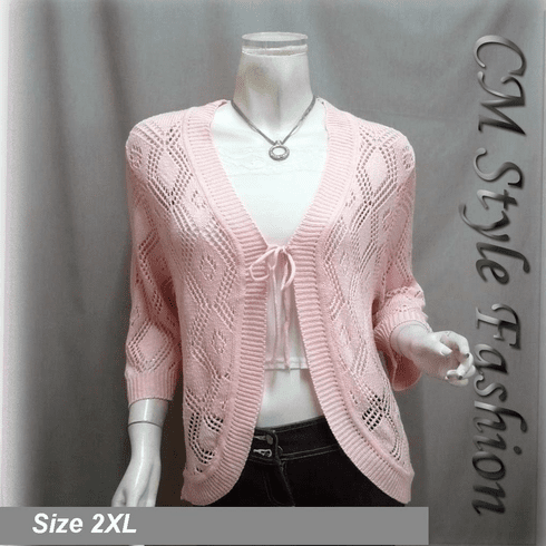 Chic Eyelet Front Tie Cardigan Sweater Top Pink